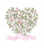 Vector beautiful card with roses in the form of heart. Stylish tender background for your invitation