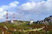 Telecommunication station on top of Folia the highest mountain in Algarve, Portugal