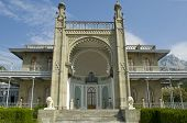 stock photo of palace  - The Vorontsov Palace or the Alupka Palace is an historic palace situated at the foot of the Crimean Mountains near the town of Alupka in Crimea - JPG
