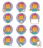 Flat people icons with business characters.