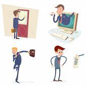 Vintage Businessman Characters Set Icon on Stylish Background Retro Cartoon Design Vector Illustrati