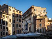 Giordano Bruno Statue At Campo Dei Fiori Square In Rome, Italy