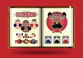 Boxing set on notebook page vector illustration
