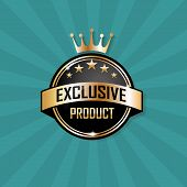 stock photo of crown  - Exclusive product label with gold ribbon - JPG