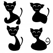 Set of four funny smiling silhouetted cats