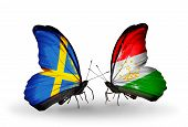 Two Butterflies With Flags On Wings As Symbol Of Relations Sweden And Tajikistan