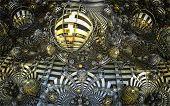 foto of mandelbrot  - By computer generated surreal 3d mandelbrot fractal - JPG