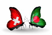 Two Butterflies With Flags On Wings As Symbol Of Relations Switzerland And Bangladesh