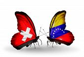 Two Butterflies With Flags On Wings As Symbol Of Relations Switzerland And Venezuela