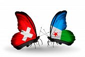 Two Butterflies With Flags On Wings As Symbol Of Relations Switzerland And Djibouti
