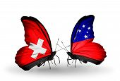picture of samoa  - Two butterflies with flags on wings as symbol of relations Switzerland and Samoa - JPG