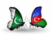Two Butterflies With Flags On Wings As Symbol Of Relations Pakistan And Azerbaijan