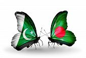 Two Butterflies With Flags On Wings As Symbol Of Relations Pakistan And  Bangladesh