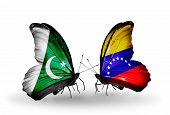 Two Butterflies With Flags On Wings As Symbol Of Relations Pakistan And Venezuela