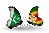 Two Butterflies With Flags On Wings As Symbol Of Relations Pakistan And Zimbabwe
