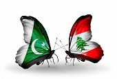 Two Butterflies With Flags On Wings As Symbol Of Relations Pakistan And Lebanon