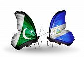 Two Butterflies With Flags On Wings As Symbol Of Relations Pakistan And Nicaragua