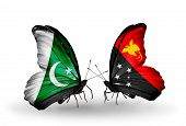image of papua new guinea  - Two butterflies with flags on wings as symbol of relations Pakistan and Papua New Guinea - JPG