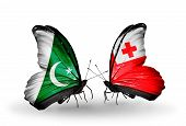 Two Butterflies With Flags On Wings As Symbol Of Relations Pakistan And Tonga