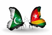 Two Butterflies With Flags On Wings As Symbol Of Relations Pakistan And Togo