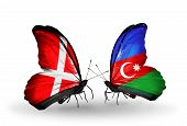 Two Butterflies With Flags On Wings As Symbol Of Relations Denmark And Azerbaijan