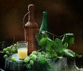 Vodka Grape And A Cluster Of Green Grapes