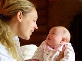 image of heartfelt  - Mother and infant looking into each other - JPG