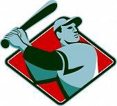 picture of bat  - Illustration of a baseball player with bat batting set inside diamond shape done retro style - JPG