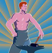 Blacksmith With Hammer And Anvil Retro