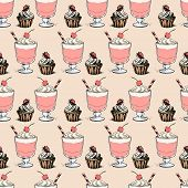 Sweet cupcakes and milkshakes background