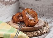 pic of french toast  - French toasts on a wooden plate - JPG