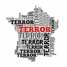 picture of sarcastic  - France in terror world cloud isolated on white - JPG