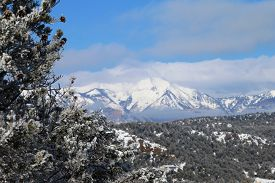 foto of blanket snow  - A snow blanket cover the La Plata Mountains in Durango - JPG