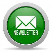 pic of newsletter  - newsletter green glossy web icon - JPG