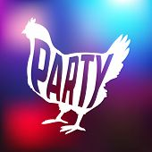 pic of hen party  - Hen party logotype with chicken silhouette and text - JPG