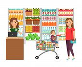 foto of grocery store  - Woman shopping in grocery store - JPG