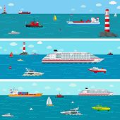 stock photo of ship  - Vector seamless horizontal sea background with ship icons - JPG