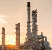 pic of fire-station  - Light of petrochemical industry power station on sunset of Thailand - JPG