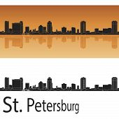stock photo of florida-orange  - St Petersburg skyline in orange background in editable vector file - JPG