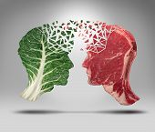 stock photo of kale  - Food information and eating health balance exchange concept related to choices with a human head shape green vegetable kale leaf and a piece of red meat steak for nutritional fitness and lifestyle decisions and diet facts - JPG