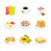 pic of continental food  - Continental breakfast realistic icons isolated - JPG