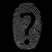 stock photo of fingerprint  - question mark on a fingerprint isolated on black background - JPG