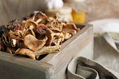 picture of crate  - Dried mushrooms in crate - JPG