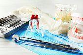 stock photo of prosthesis  - White fake teeth - JPG
