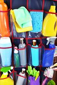 image of household  - Household chemicals in holder - JPG