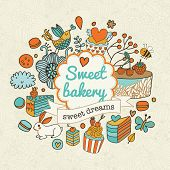stock photo of sweet dreams  - Sweet vector background with cakes - JPG