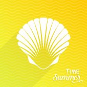 picture of scallops  - Summer time card with white scallop seashell - JPG
