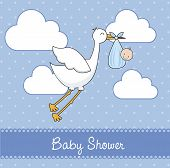 image of stork  - blue baby shower card with stork and baby  - JPG