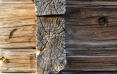 stock photo of timber  - Closeup of timbered house and the way the timber are joined together from the North of sweden - JPG