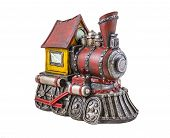 stock photo of locomotive  - The model of steam locomotive is photographed on a white background - JPG